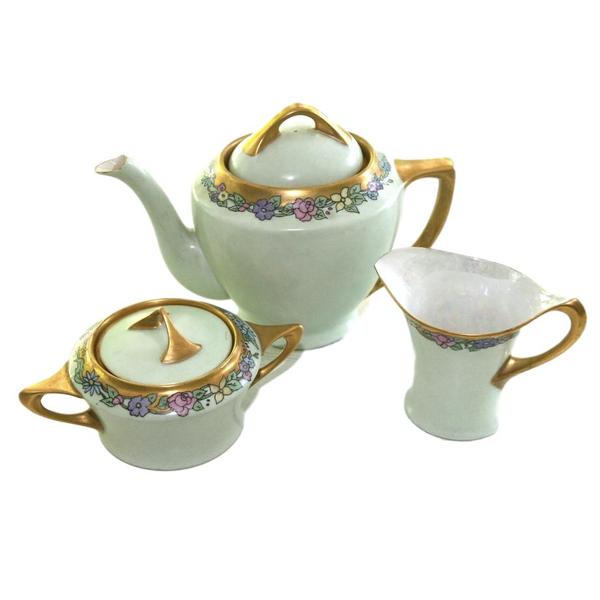 Art Deco Green Teapot with Creamer & Sugar Bowl