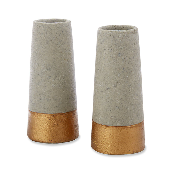 Concrete and Copper Bud Vases