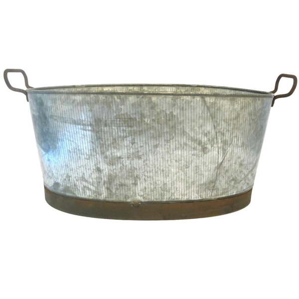 Ribbed Tin Bucket with Handles