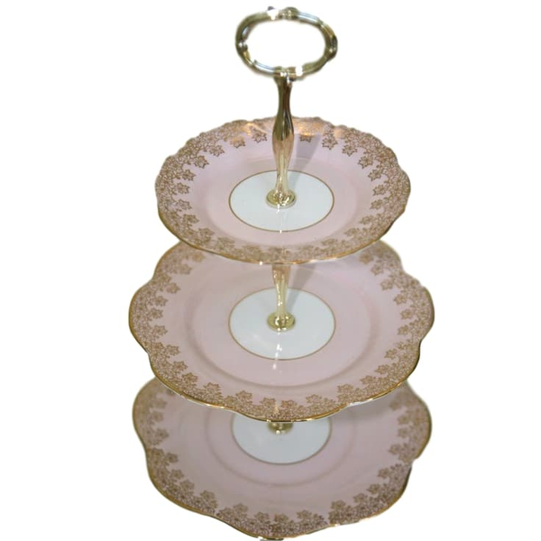 3 Tier Pink and Gold Dessert Stand
