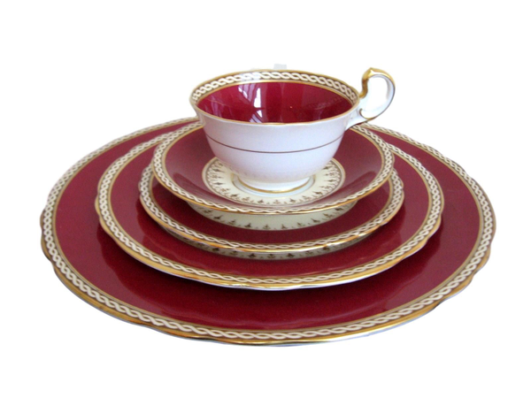 "Vintage Aynsley China - ""Maroon"" 12 Place Settings"