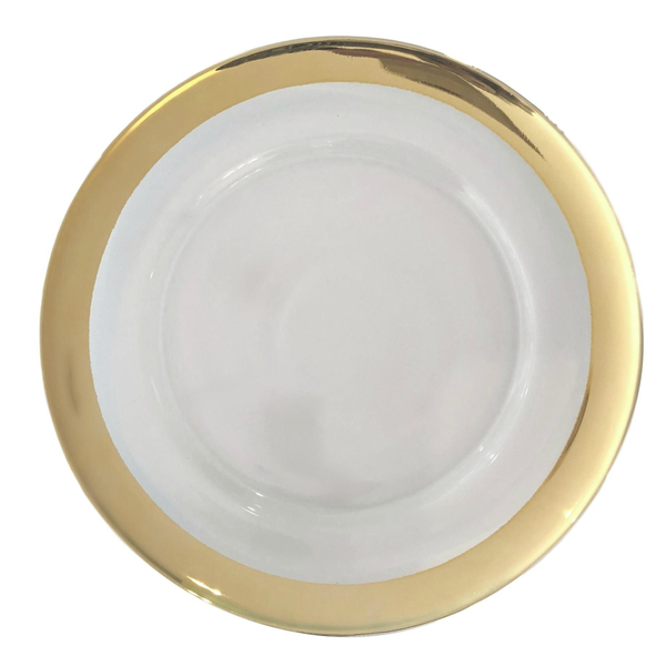 Wide Gold Rim Glass Charger Plates