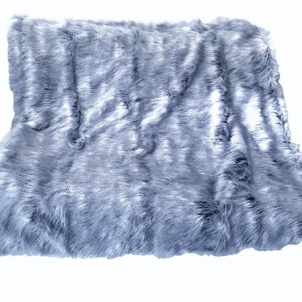 Smokey Periwinkle Blue Faux Fur Blanket