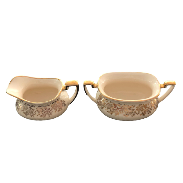 Cream and Gold Leaf Cream and Sugar Set
