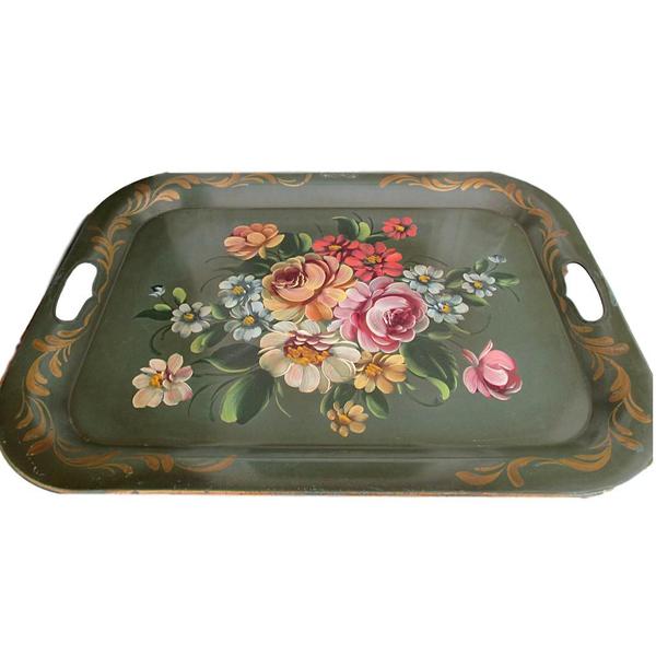 Vintage Green Tin Flower Tray