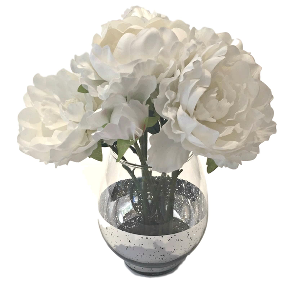 """""""Silver Base"""" Warm White Flower Collection"""