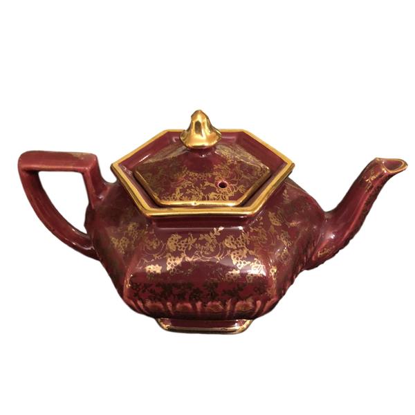 Vintage Red with Gold Design Tea Pot