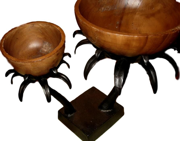 Palm Stand with 2 Wood Bowls