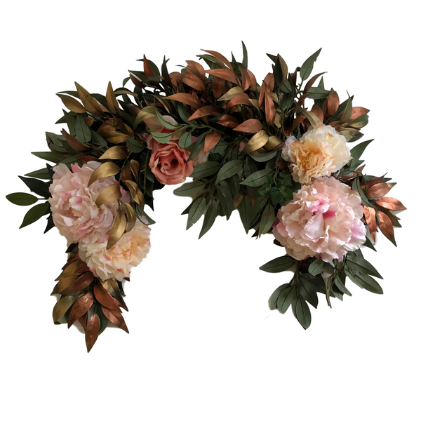 "3' ""Copper, Gold, Pink Faux Floral Swag"