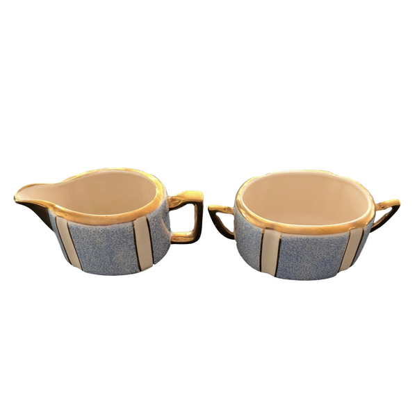 Striped Blue and Gold Cream and Sugar Set