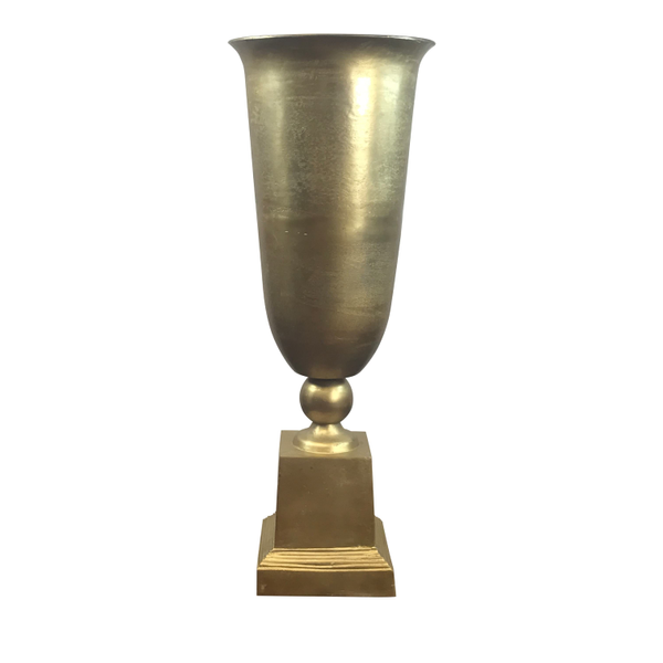 Tall Gold Metal Urn