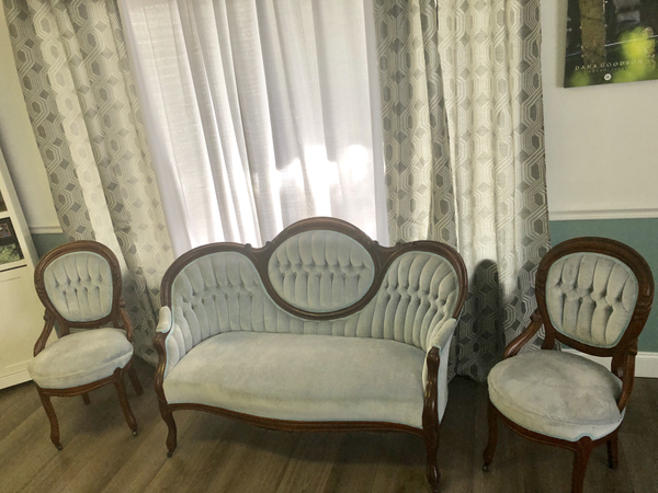 Light blue Love seat and 2 Chairs