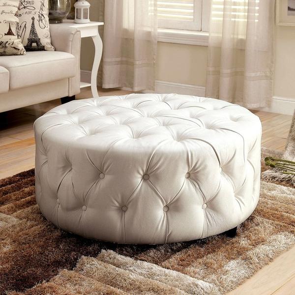 White Leather Ottoman