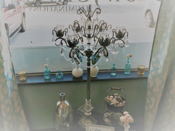 Silver Candelabra's with Crystals