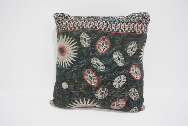 boho kantha pillow #2