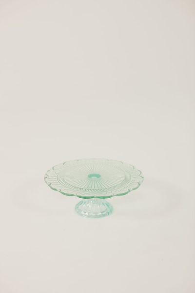 "8"" teal glass cake stand"