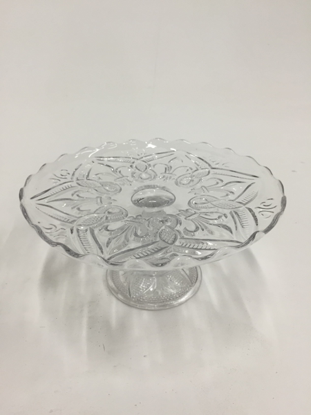 "9.5"" clear glass cake stand"
