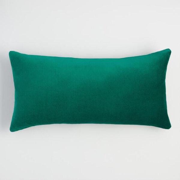 evergreen velvet lumbar pillow