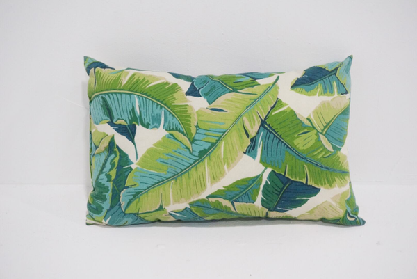palm leaf lumbar pillow - bright