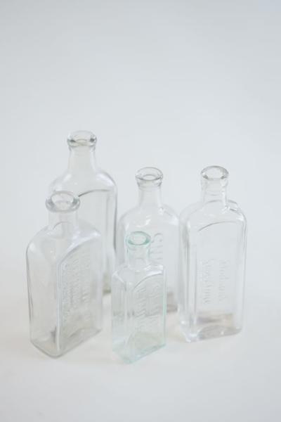 clear glass bottle - single