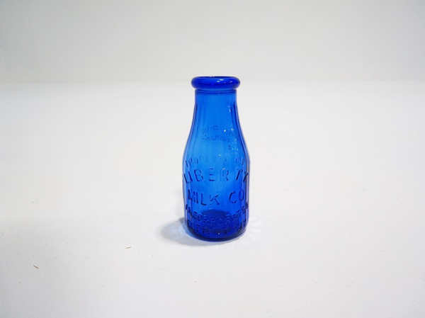 cobalt blue milk bottle