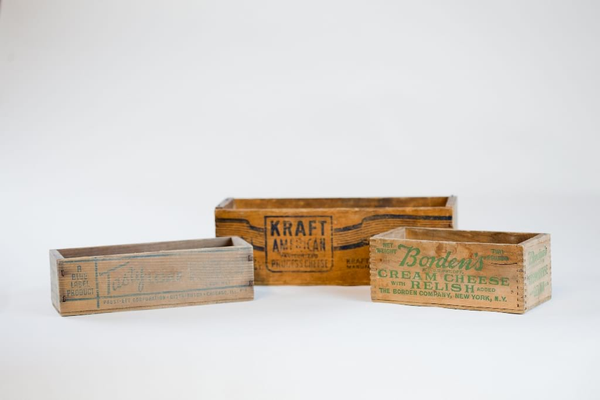 vintage wooden cheese box - single