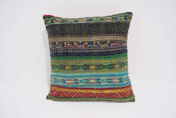 boho kantha pillow #4