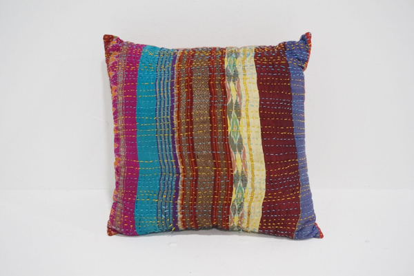 boho kantha pillow #6