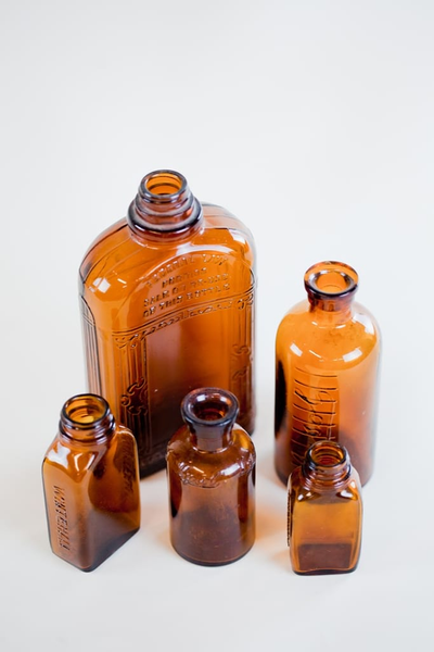 amber glass bottle - single