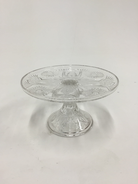 "8"" clear pressed cake stand"