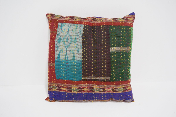 boho kantha pillow #1