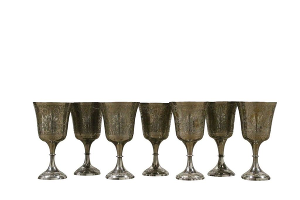 Tarnished Silver Goblet-Etched