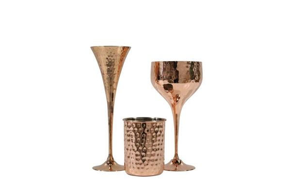 Copper/Hammered Stemware Set