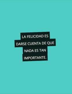 la felicidad es darse cuenta de que nada es tan importante.