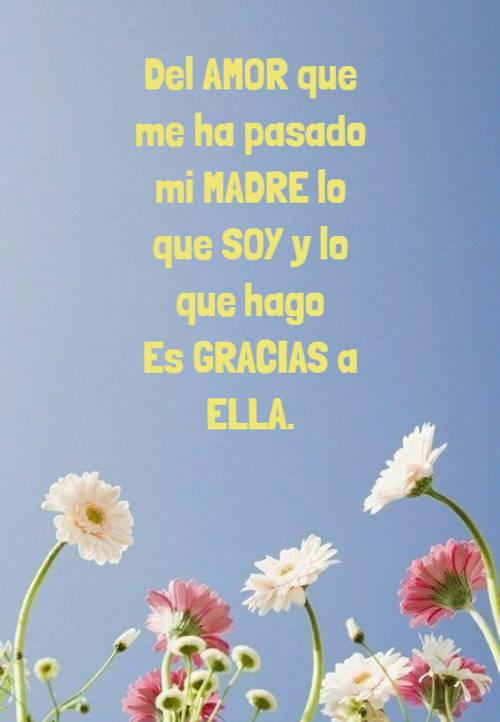 Frases para el Día de la Madre - Del AMOR que me ha pasado mi MADRE lo que SOY y lo que hago Es GRACIAS a ELLA.
