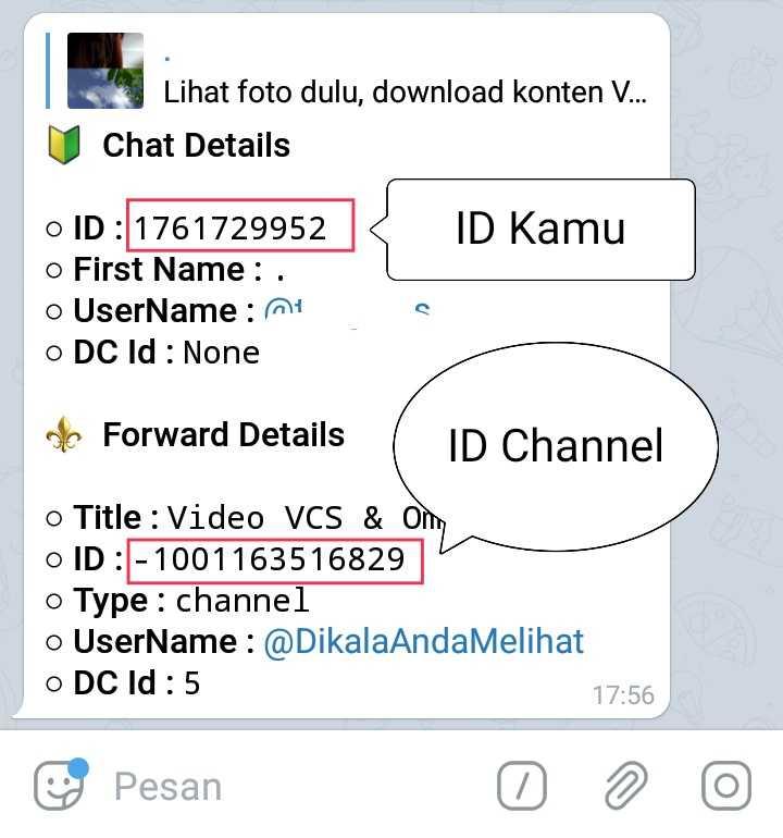 kode id akun dan id telegram