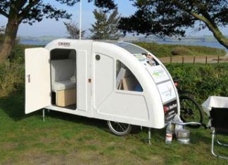 widepathcamper bicycle trailer camper 1 324x235 - Artist built a micro gypsy wagon you can tow with your bike
