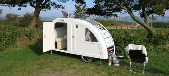 widepathcamper bicycle trailer camper 1 - This foldable bicycle camper lets you live comfortably on the road