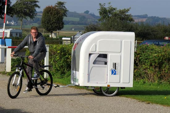 widepathcamper bicycle trailer camper 3 - This foldable bicycle camper lets you live comfortably on the road