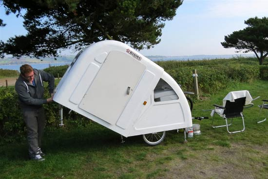 widepathcamper bicycle trailer camper 8 - This foldable bicycle camper lets you live comfortably on the road