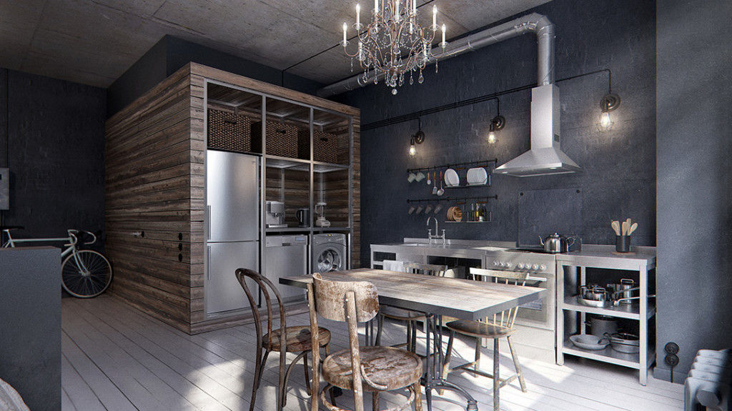 In this 431 ft2 industrial chic apartment, the bathroom has been hidden in a cool wooden cube