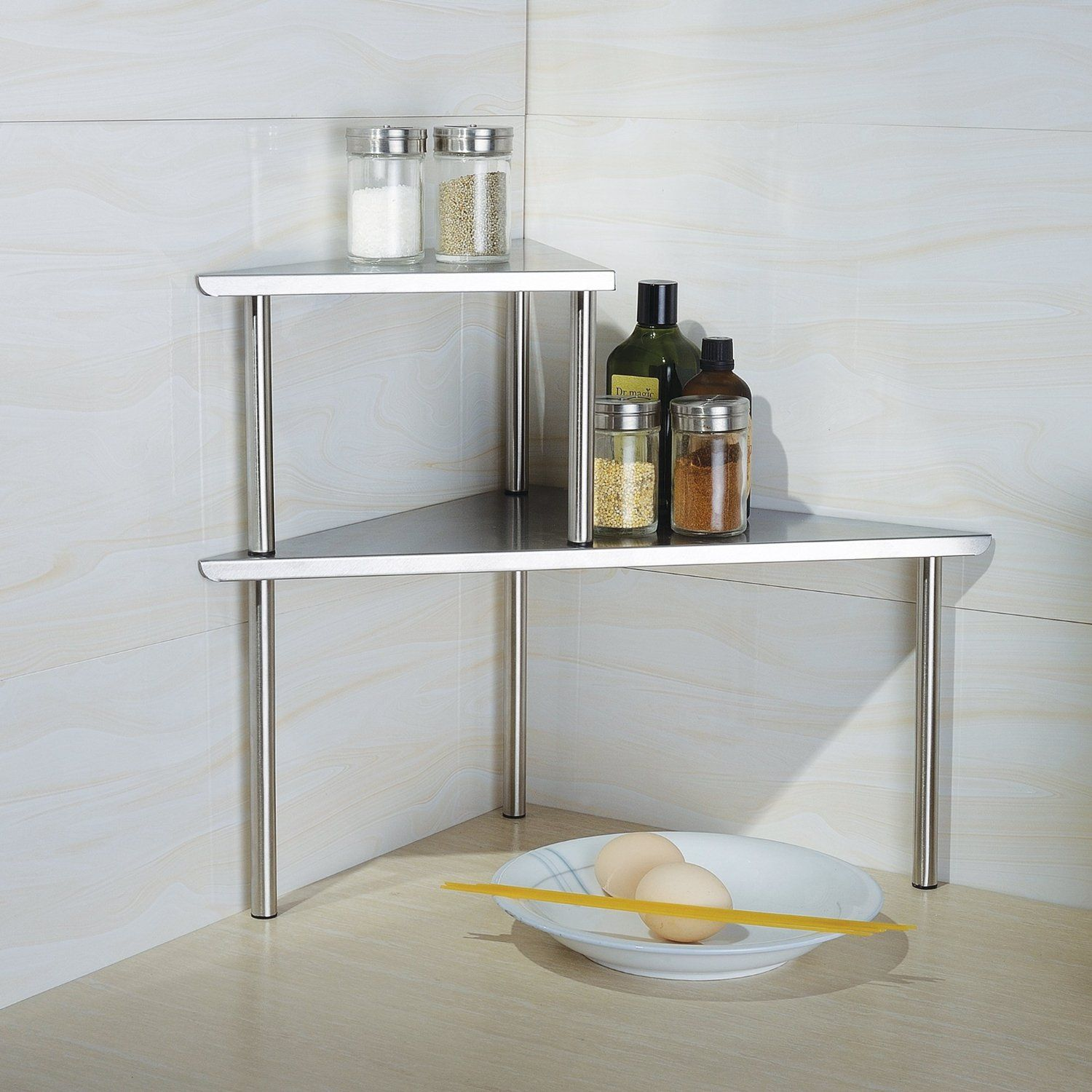 Cook N Home 2 Tier Corner Storage Shelf Stainless Steel - Declutter your kitchen with these 10 space-saving ideas