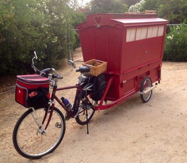 gypsy caravan howard 1 - Artist built a micro gypsy wagon you can tow with your bike