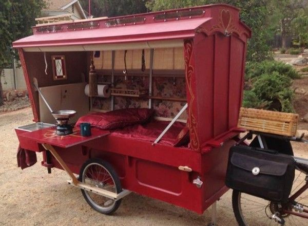 gypsy caravan howard 12 - Artist built a micro gypsy wagon you can tow with your bike