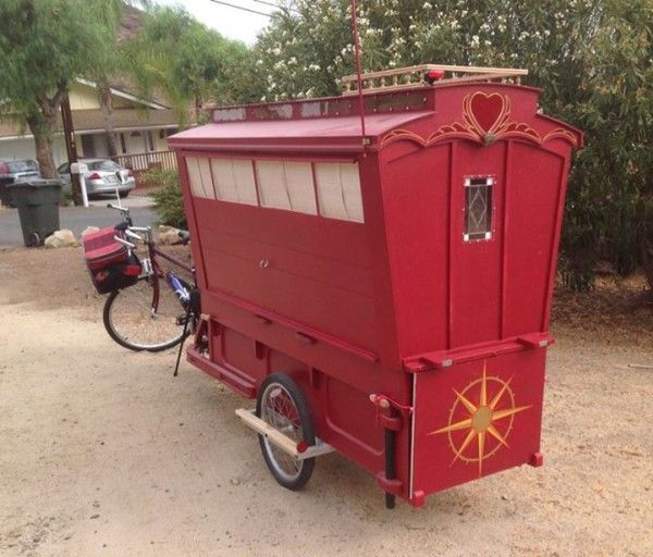 gypsy caravan howard 2 - Artist built a micro gypsy wagon you can tow with your bike