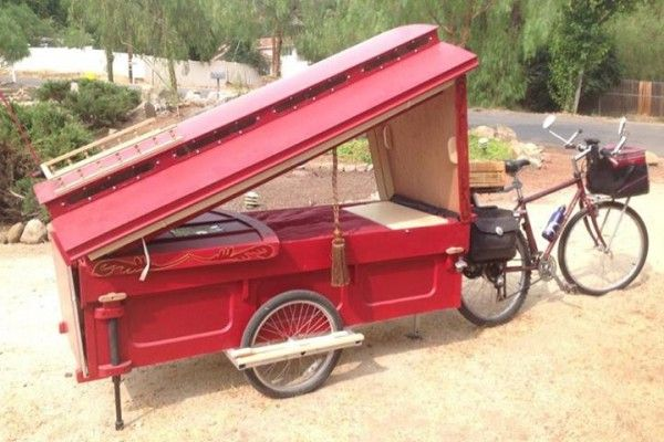 gypsy caravan howard 4 - Artist built a micro gypsy wagon you can tow with your bike