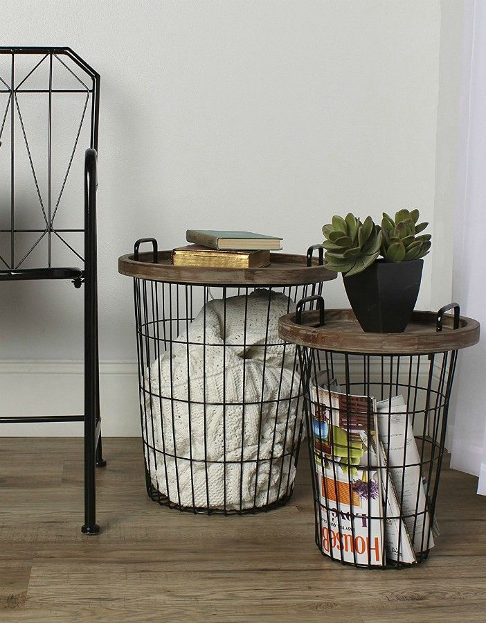Kate and Laurel Tenby Nesting Metal and Wood Tray Accent End Tables Black - 17 trendy coffee and side tables with integrated storage