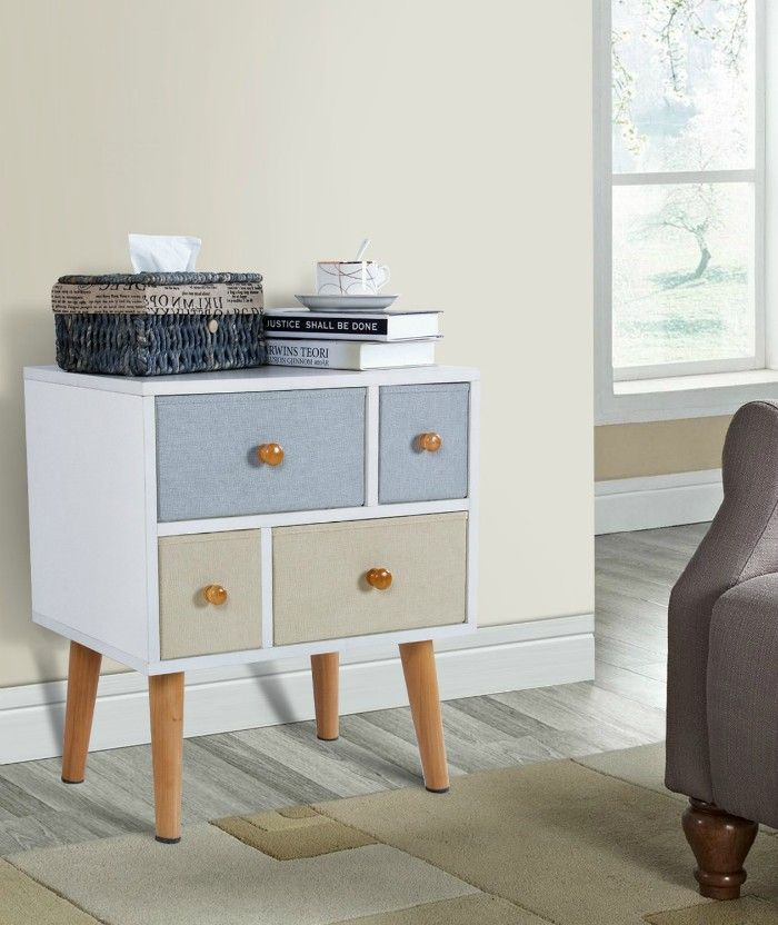 Lifewit Side End Table Nightstand Bedroom Living Room Table Cabinet with 4 Drawers White - 17 trendy coffee and side tables with integrated storage