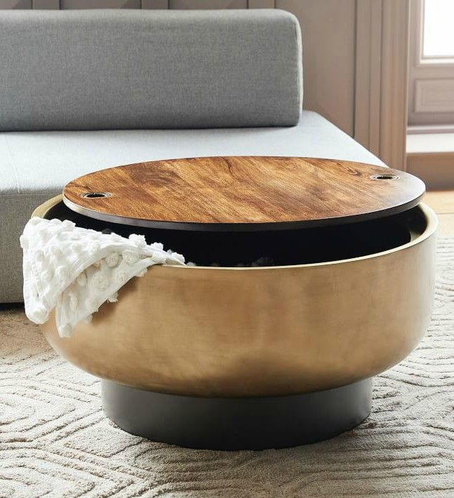 drum storage coffee table o - 17 trendy coffee and side tables with integrated storage