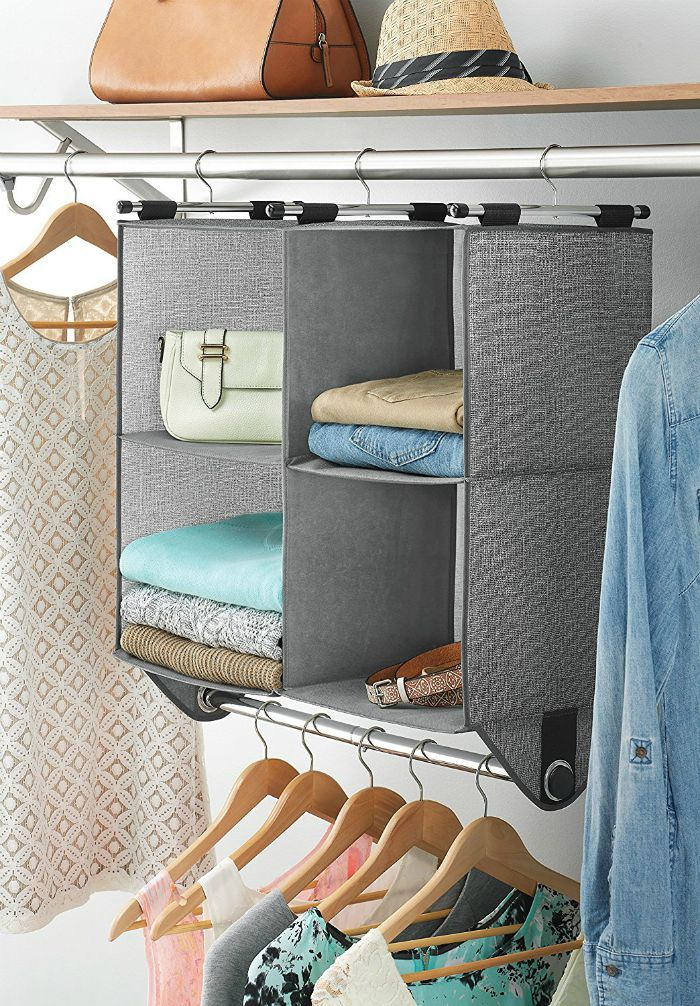 4 Section Fabric Closet Organizer Shelving with Built In Chrome Garment Rod - 14 brilliant storage ideas for small spaces